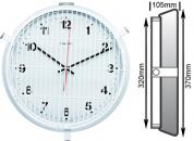 Front Protected White Clock 320mm Ø Battery Operated